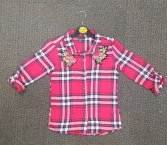 GIRLS EX STORE RED CHECK BLOUSE (SMALL)