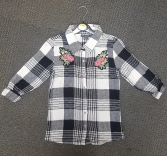 GIRLS EX STORE BLACK CHECK BLOUSE (SMALL)